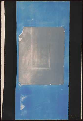 A lithograph from one stone and two aluminum plates printed in black, gray and blue