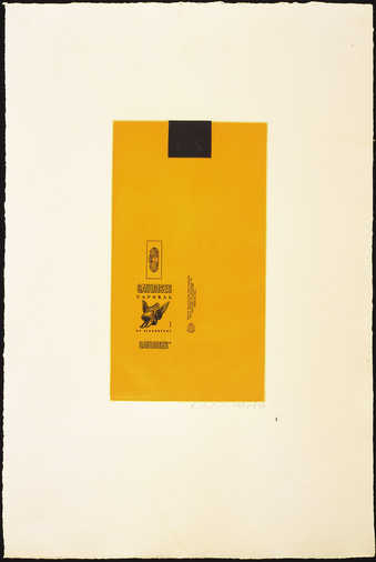 Aquatint from two copper plates printed in yellow and black, line-cut form on e copper plate...