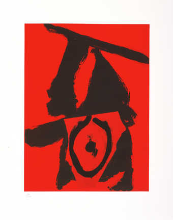 An aquatint from one copper plate printed in red; lift-ground etching and aquatint from one...