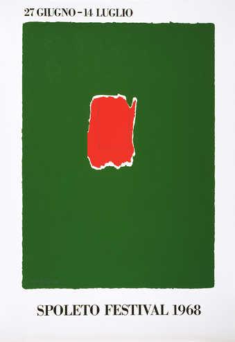 screenprint printed in green, red, and black