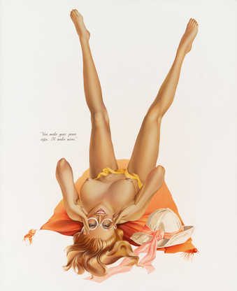 "A Vargas like image of a nude woman lying on her back. Text in black next the figure ""You..."