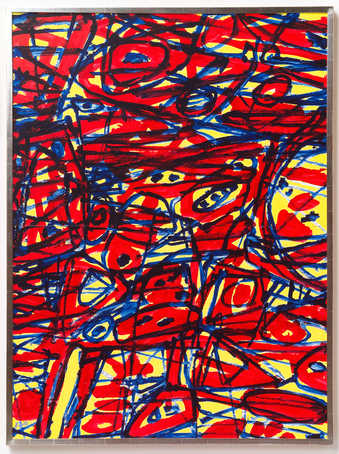 dense network of primary colored brushstrokes on paper attached to canvas