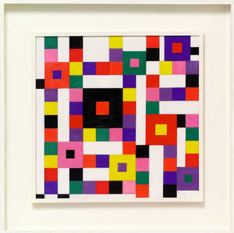 squares and triangles of bright color. canvas wrapped in wood strips and floated in a white frame...
