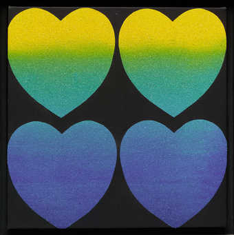 four heart shapes on a small square canvas arranged in two rows of two.  The hearts in the top...