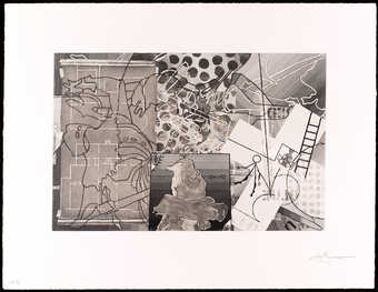 a black and white abstract image.  A one color intaglio.