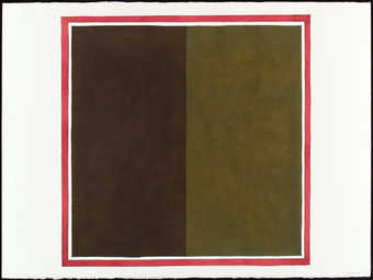 a square divided in half vertically, in two shades of olive green with a square border of red...