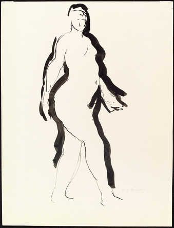 striding female nude