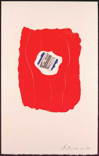 An offset lithograph printed in red, blue, and black.  This print, without margins and unsigned,...