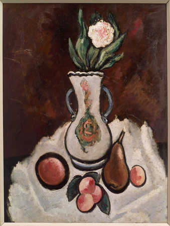 Fruits and a flower in a vase on a white drape in gront of a reddish brown background.