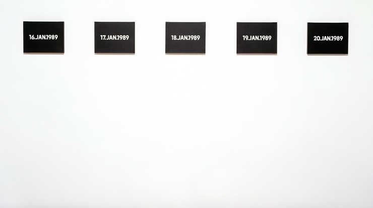 Each painting:  white dates painted on a black field. Each box: paper tape, cardboard, newspaper,...