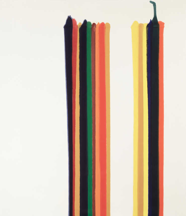 two groups of vertical stripes painted on raw canvas