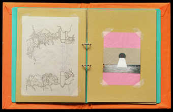 A set of five artists books containing works of various medium.  When the books are closed and...