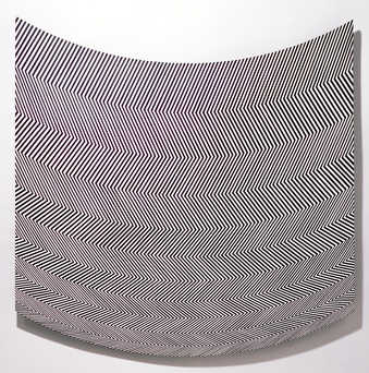 top and bottom of panel curved.  Horizontal bands of black diagonal stripes every other row of...