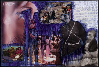 a collage of magazine images, overdrawn with ballpoint pen and wrapped with transparent plastic. ...