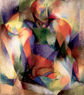 Figure composed of brightly colored geometric planes of color.  Background also planes of color...