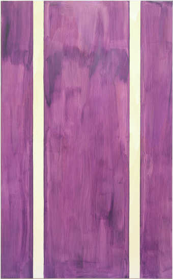 purple field with two raw canvas verticle stripes