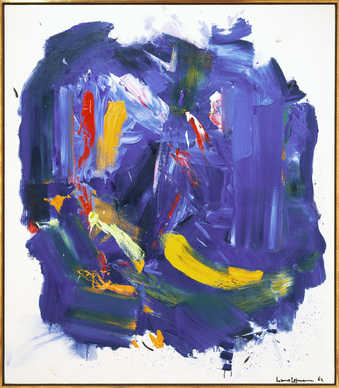white ground with large blue area. painted over blue are gestural brushstrokes of red, white,...