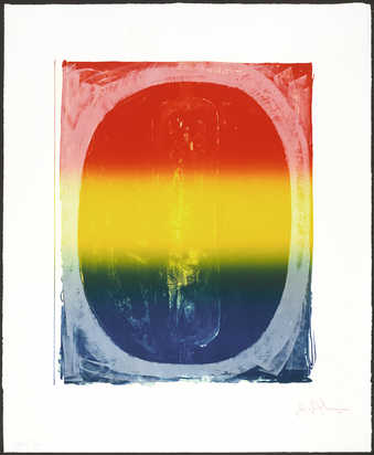 A color image of the figure 0.  A 4 color lithograph from one stone and two aluminum plates