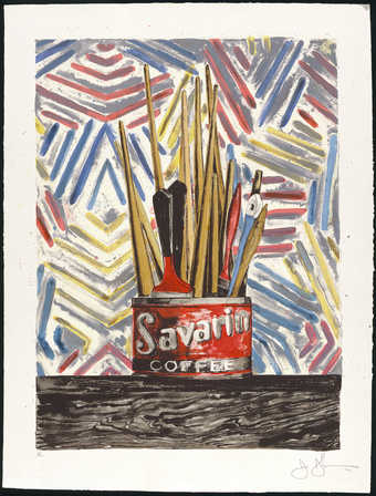 An image of a Savarin Coffee can filled with paint brushes.  A lithograph from seventeen aluminum...
