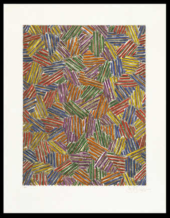 An image composed of groupings of colored lines.  A screenprint from eighteen screens.