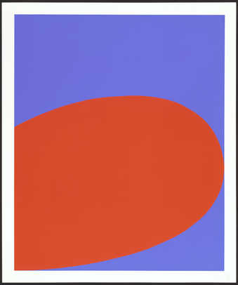 A screenprint from two screens.  An image of a partial red/orange oval on a blue field. ...