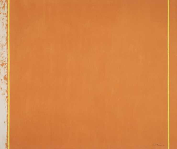Orange field with two vertical stripes of yellow one at each end of the canvas.  Left end of...