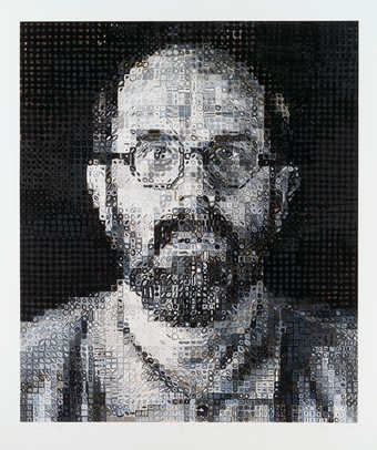 A self portrait, done in a grid pattern.  An eighty color screenprint
