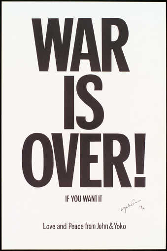 "black text ""War is over if you want"" on white paper"