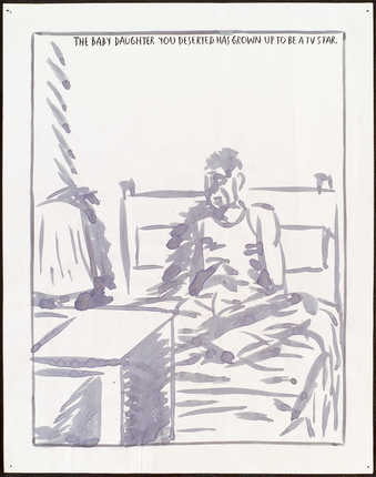 "drawing of a man lying in bed in front of a television;text reads ""The baby daughter you..."