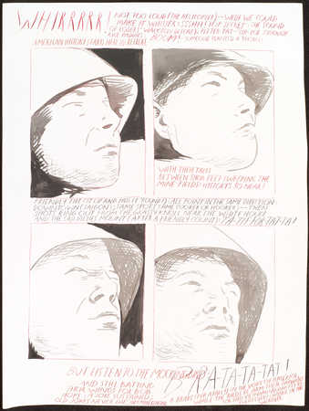 "four portraits of a man in a hat;text reads ""Whirrrrr!  Not too loud (the helicopter) - -..."