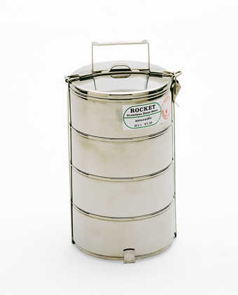 a Thai stainless steel lunchbox composed of four stackable bowl secured with a stainless metal...