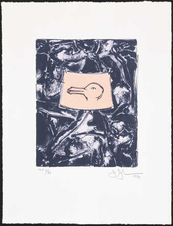 An image of a rabbit or duck head in the center of an abstract composition. The print was made to...
