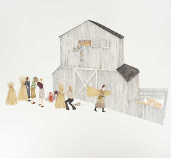 An image of a group in front of barn.  In the hay loft of the barn are a group of hens with human...