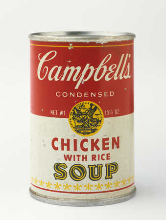 A sculpture identical to a Campbell's soup can.