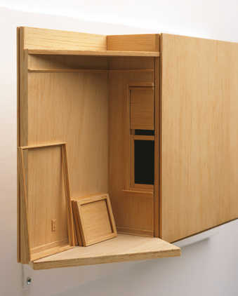 A balsa model of a Studio and exhibition Gallery with a large box space in between