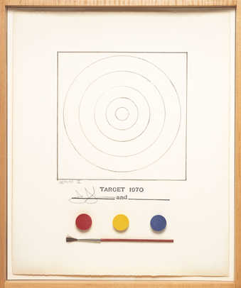 The outline of a target above a red, yellow, blue, watercolor pad and paint brush.  A lithograph...