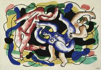 three figures floating in front of black, blue, yellow, green and pink abstract forms.