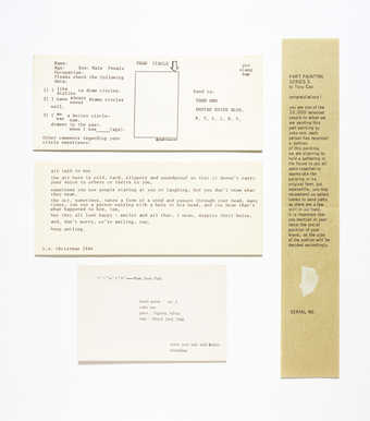 black text on green paper, white paper collage element.  A painting torn into 10,000 pieces,...