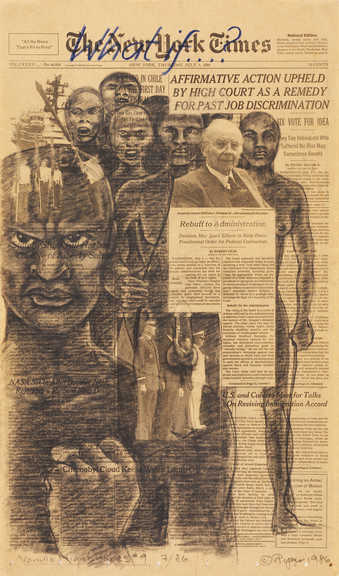 "A group black figures superimposed surrounding a white man under the headling ""Affirmative..."