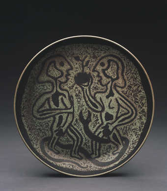 Adam and Eve with snake and apple on plate