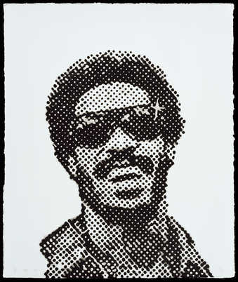 A benday dot image of Stevie Wonder from a record album cover for the 1970&quot;s