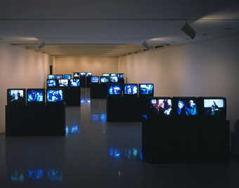 An installation which engages the viewer in a deconstructive tour of the film-production process....