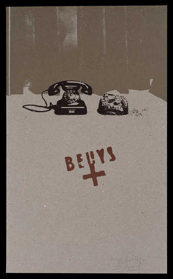 silkscreen on felt board from photograph of object Earth Telephone, 1969