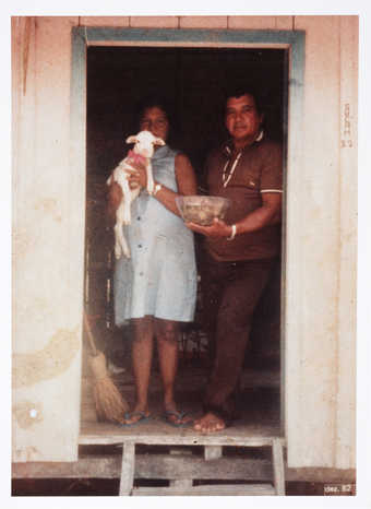 An image of a Brazilian couple and two views of the interior of their home