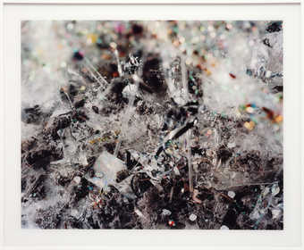 A manipulated photographic detail of crystals, jewels, etc.