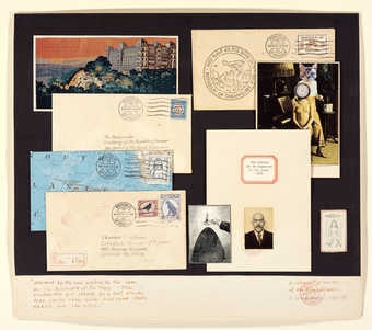 A collage of envelopes and photographs.