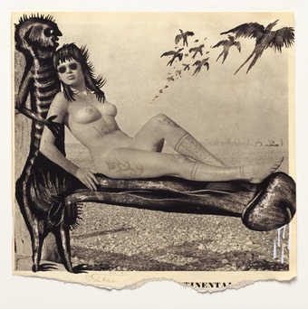 Vintage pornography onto to which the artist has drawn.  A reclining nude supported by the...