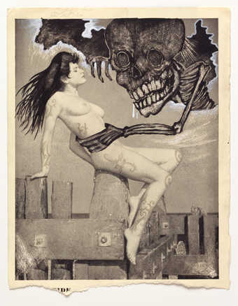 Vintage pornography onto to which the artist has drawn.  A monster like creature grasps a seated...