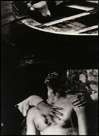 Two images- top a small wooden boat, bottom the torso of nude man, floating in water with other...