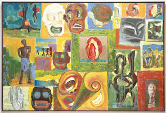 A rough grid-like pattern on the canvas, each containing a different image.